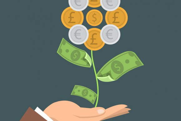 Illustration of a hand and a money tree growing. It represents the yearly growth of business results for companies that use an ERP.