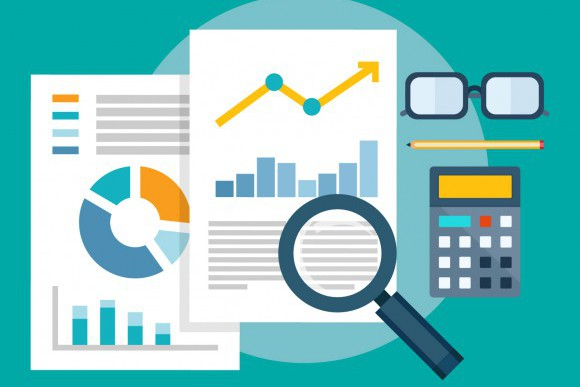 The illustration of a magnifying glass over charts and graphics represents applying technology with business strategy.